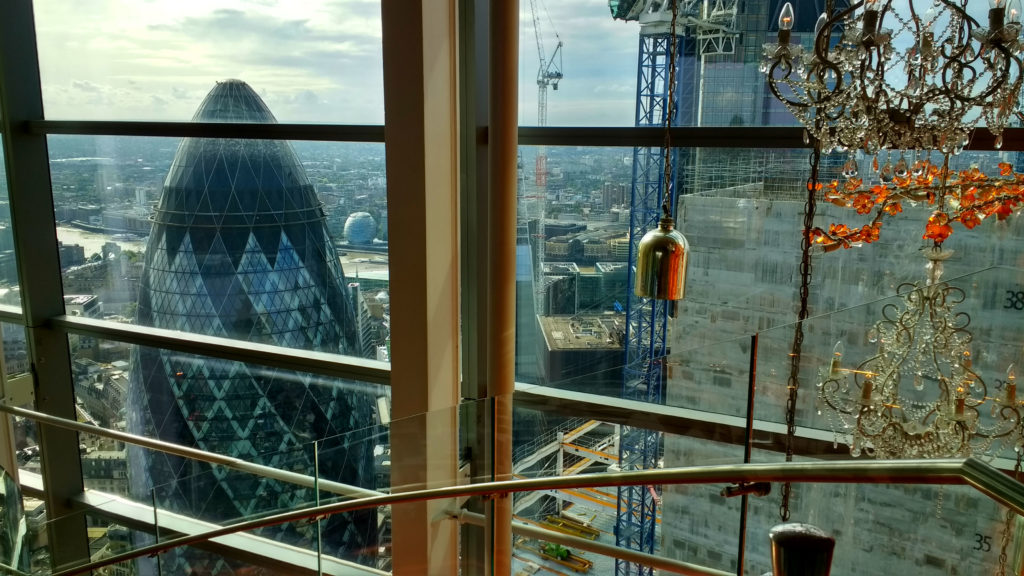 London view Duck and Waffle bar modern skyline London Tailored Tours