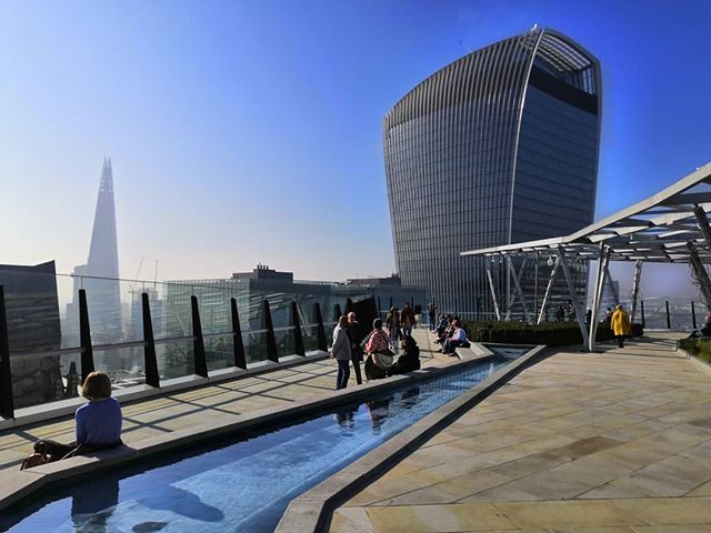 A roof garden with views of the walkie talkie building