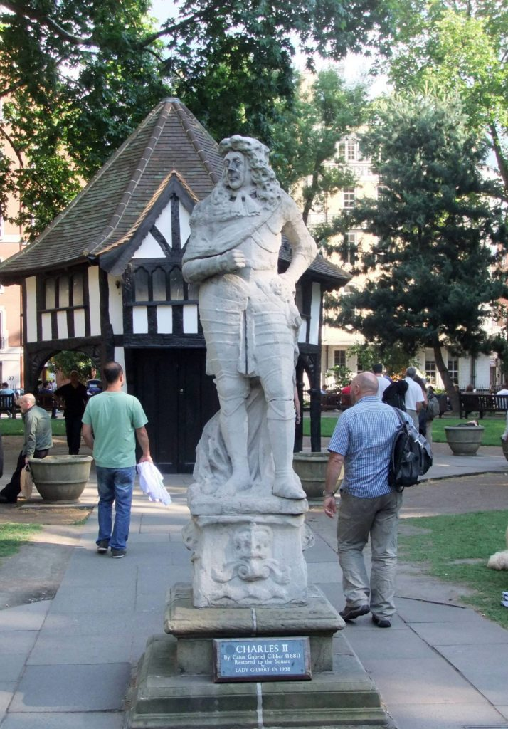 Soho square with its Charles II statue