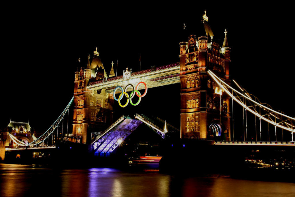 Tower of London with Olympic rings for biggest sport event in the world